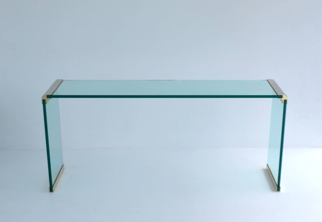 Glass Waterfall Form Console Table Or Sofa Table At 1stdibs