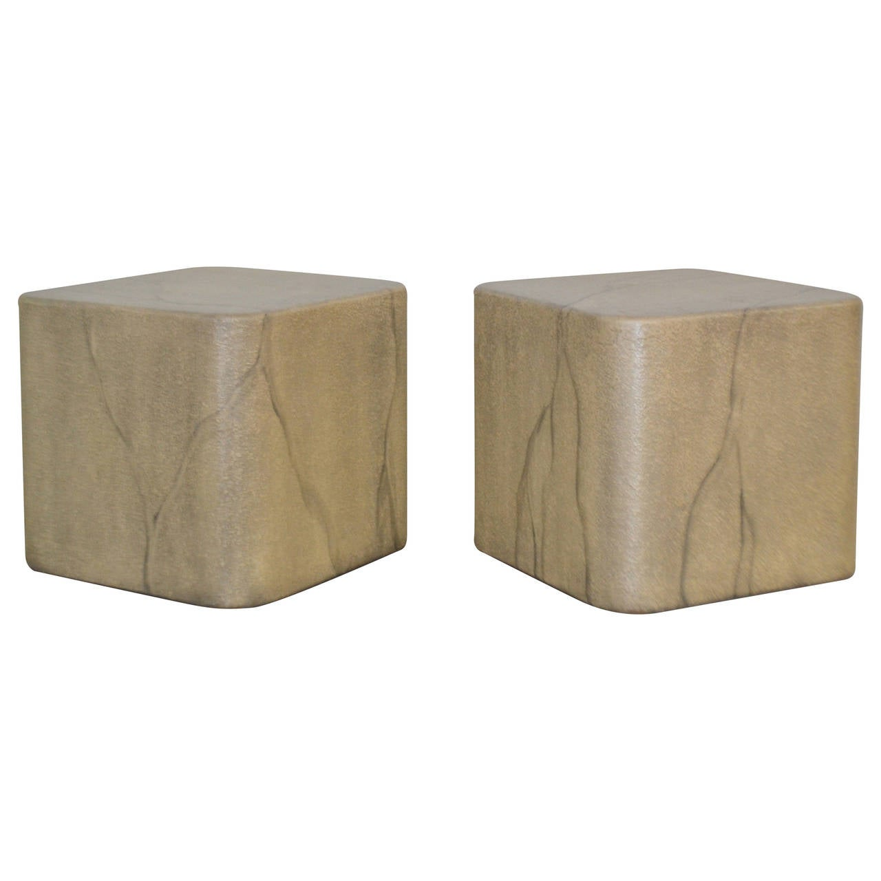 Pair Of Faux Marble Cube Form Side Tables Or Coffee Table At 1stdibs