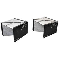 Pair of Postmodern Tessellated Stone Side Tables