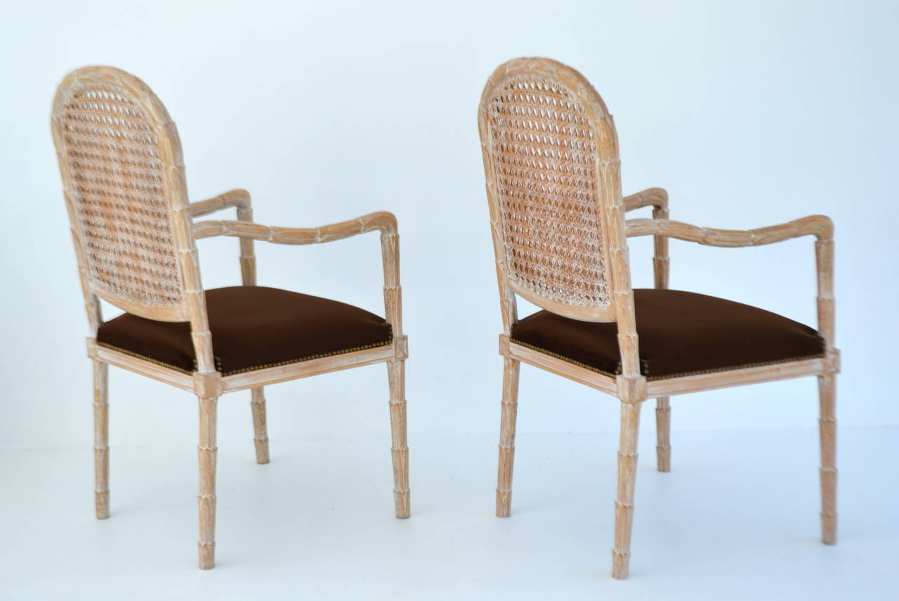 Brass Pair of Italian Hand-Carved Hall Chairs by Boffi For Sale