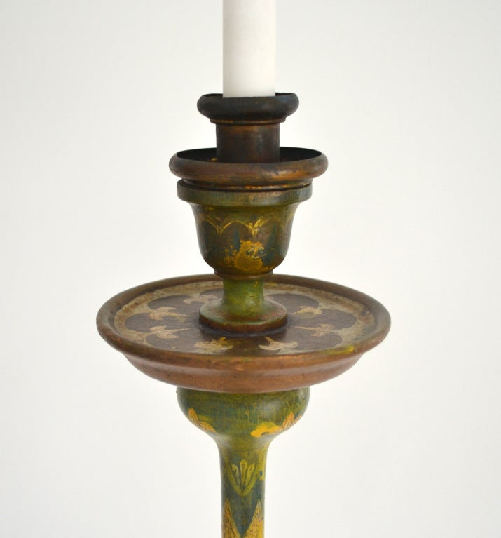 pair of venetian hand painted carved wood candlestick lamps at 1stdibs. Black Bedroom Furniture Sets. Home Design Ideas