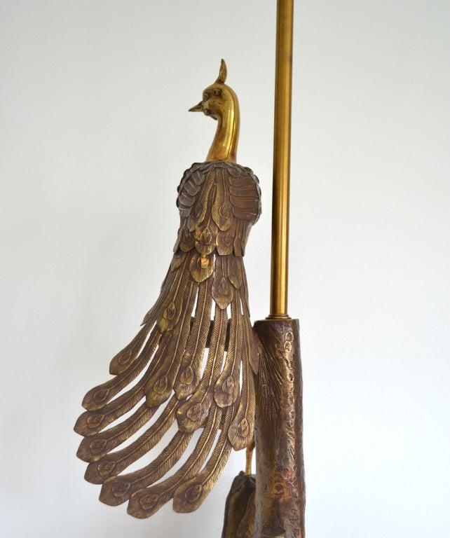 Mid Century Marbro Brass Peacock Lamp image 6