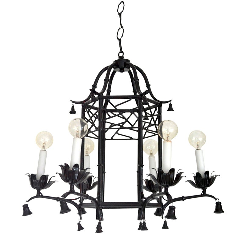 Hollywood Regency Style Faux Bamboo Pagoda Chandelier