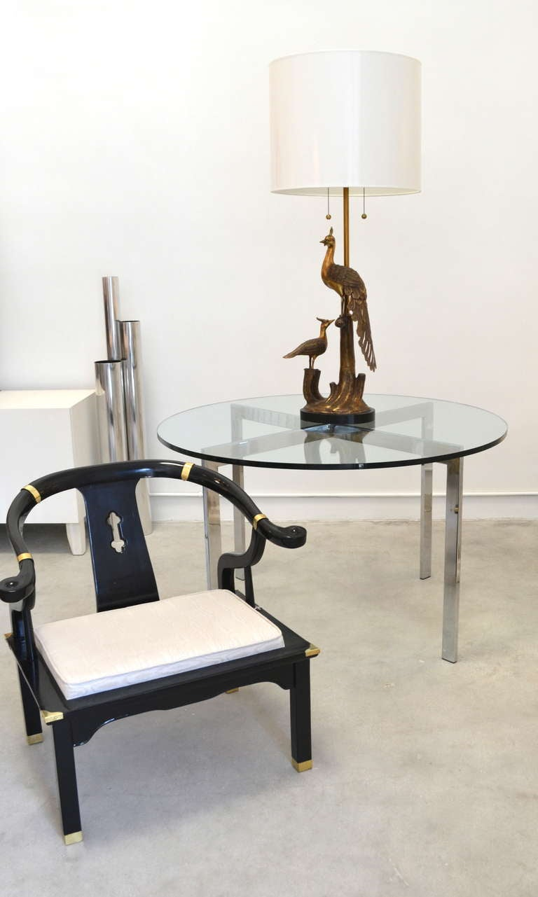 Center Table With Glass : MId-Century Chrome and Glass Game Table / Center Hall Table at 1stdibs