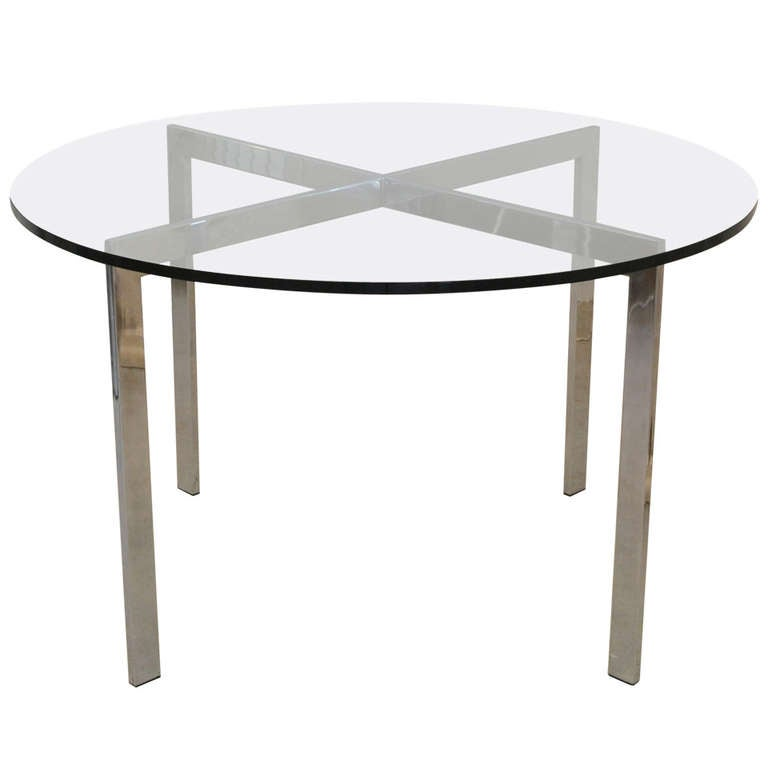 Mid Century Chrome And Glass Game Table Center Hall