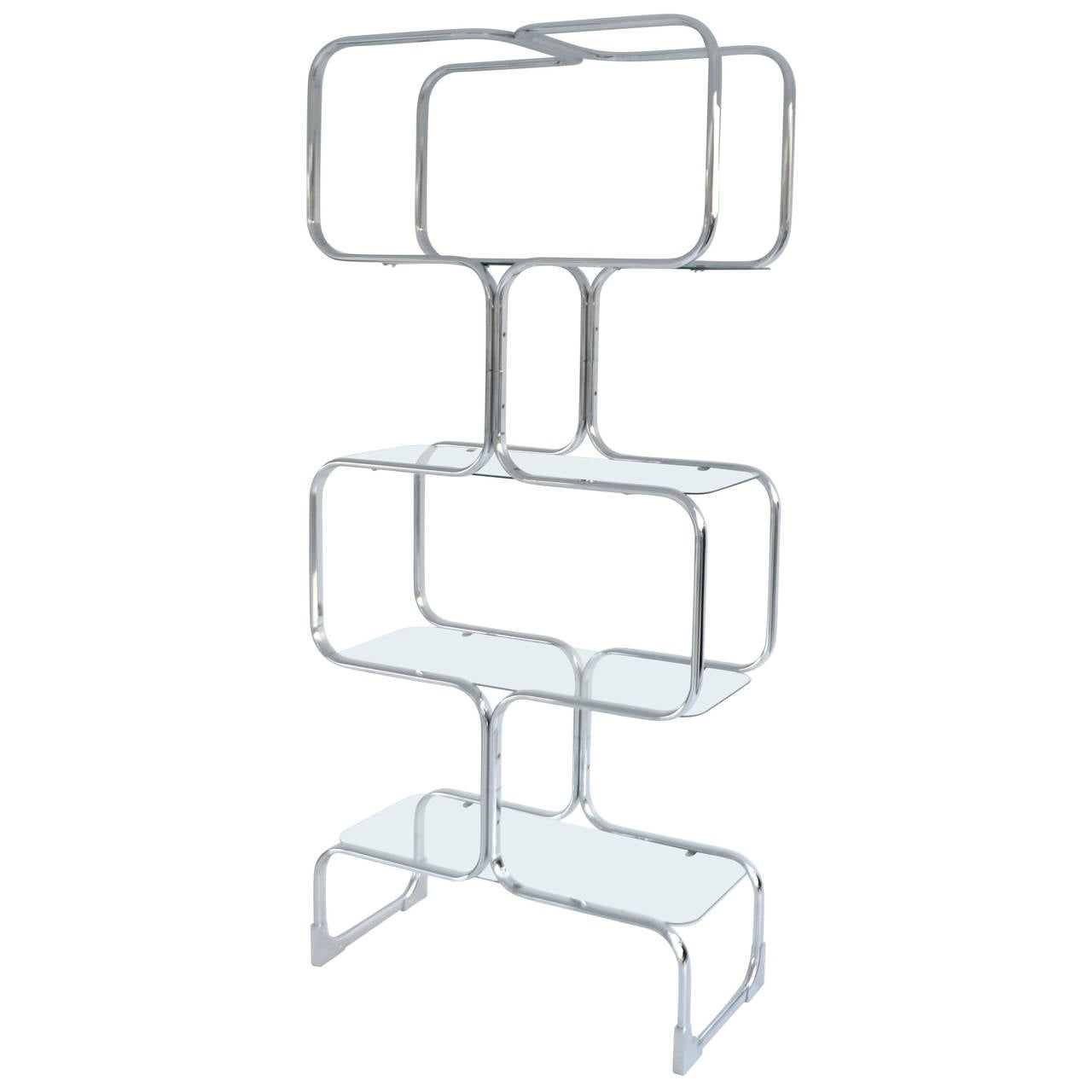 italian chrome and glass postmodern etagere at stdibs - italian chrome and glass postmodern etagere