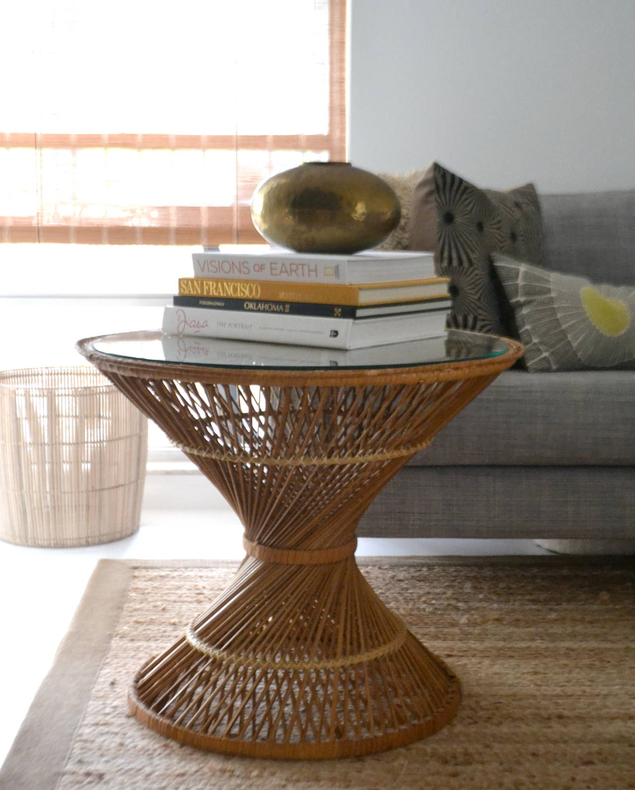 Pair of Woven Rattan Hour Glass Form Side Tables at 1stdibs