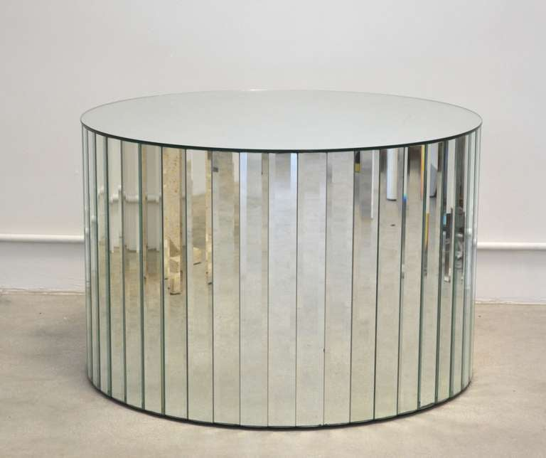 Hollywood Regency Mirrored Drum Table For Sale