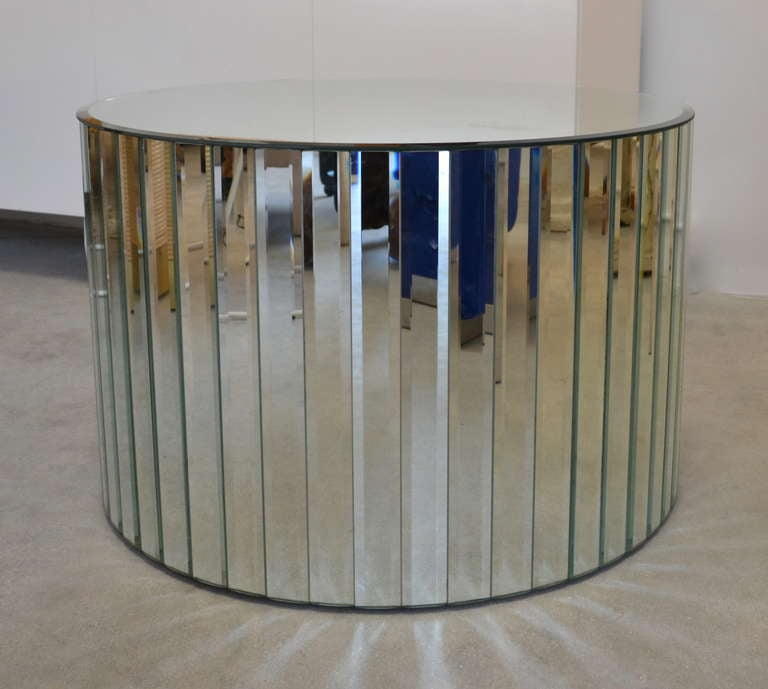 Mirrored Drum Table In Excellent Condition For Sale In West Palm Beach, FL