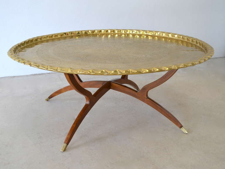 Round Brass Tray Top Coffee Table At 1stdibs
