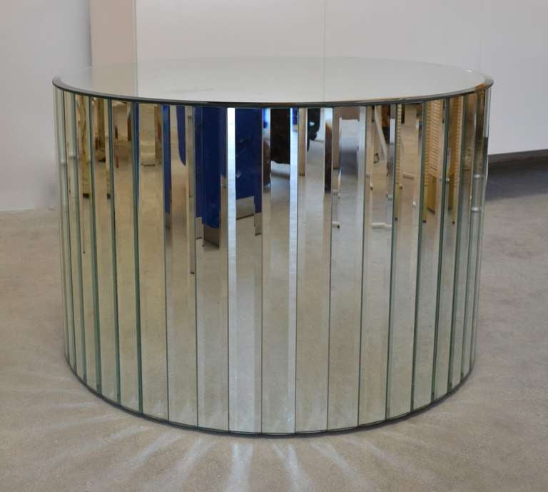Mirrored Drum Table For Sale 2