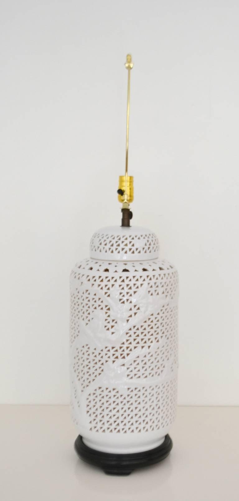 Pierced Porcelain Blanc De Chine Table Lamp At 1stdibs