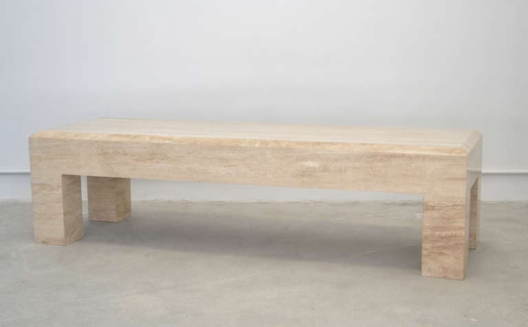 Travertine Coffee Table in the Style of Willy Rizzo 2 - Travertine Coffee Table In The Style Of Willy Rizzo At 1stdibs