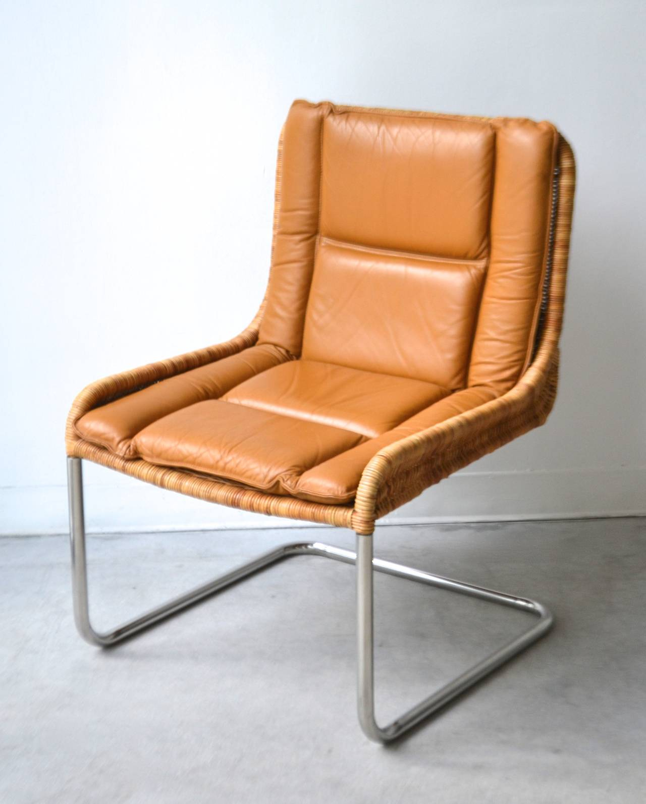 Woven Rattan and Leather Occasional Chair Side Chair at
