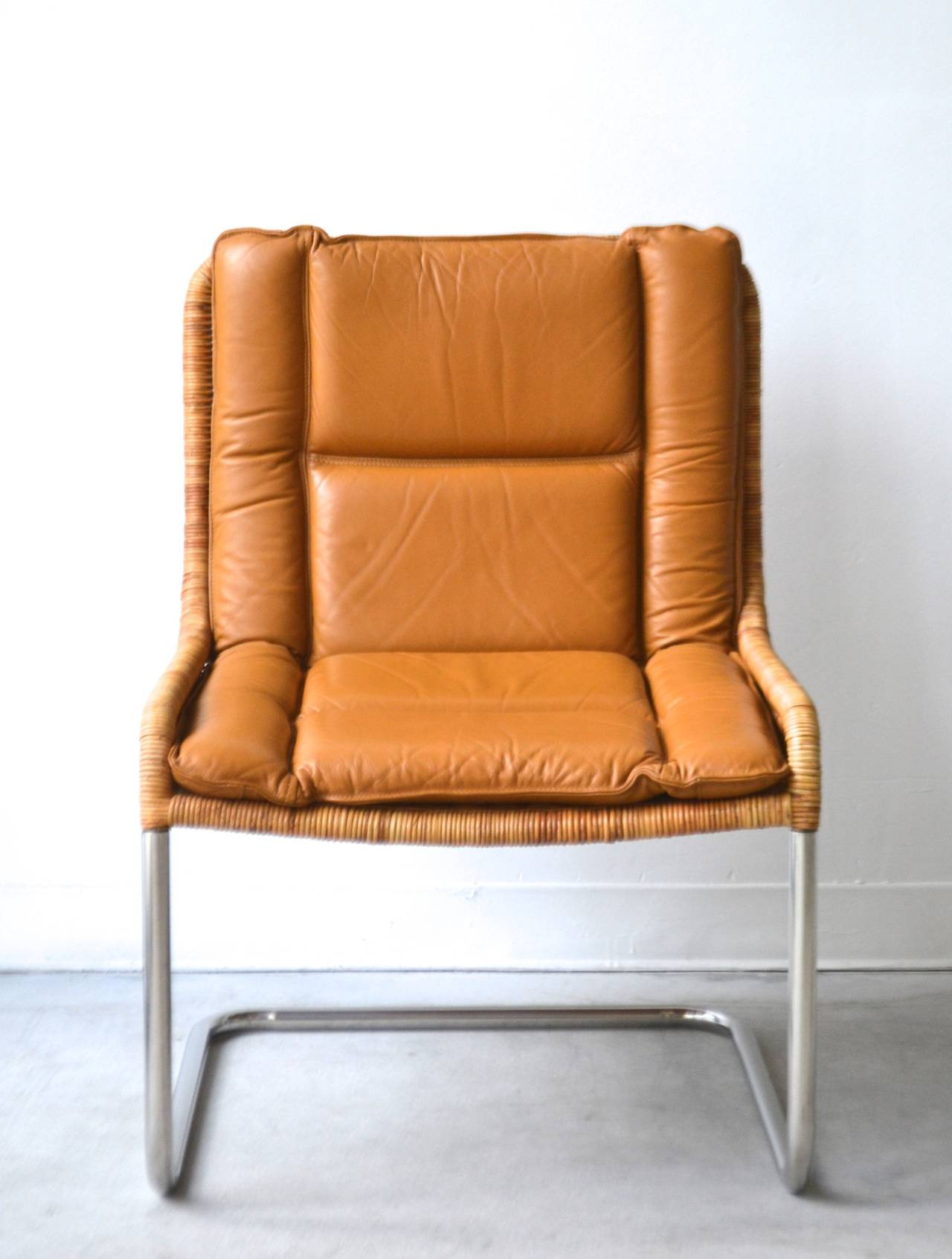 Woven Rattan and Leather Occasional Chair at 1stdibs