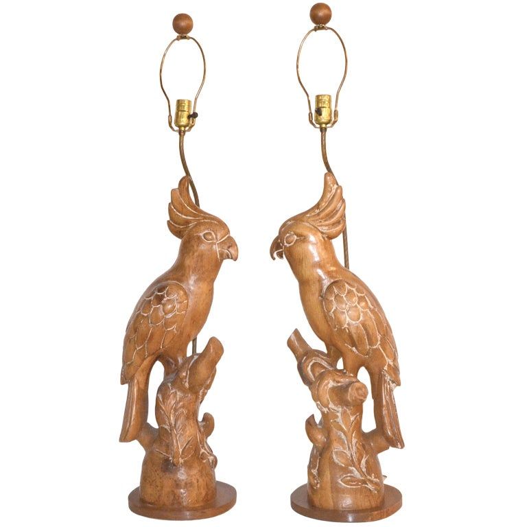 pair of 1950s hand carved wooden parrots mounted as table lamps at 1stdibs. Black Bedroom Furniture Sets. Home Design Ideas