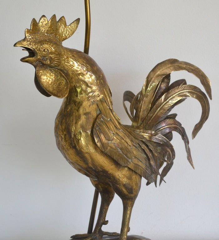 Hollywood Regency Style Brass Rooster Table Lamp 2