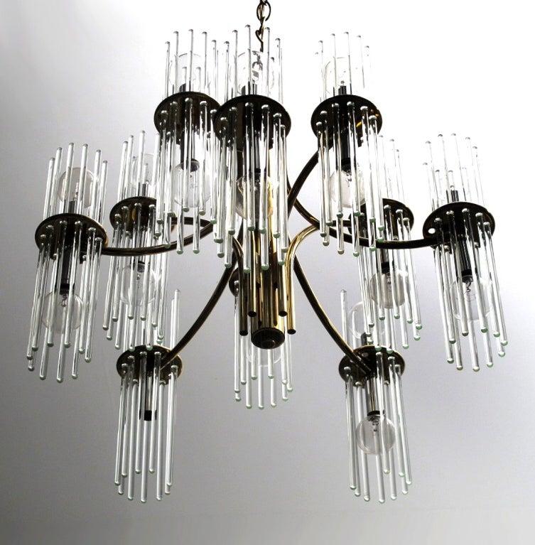 Lightolier Ring Chandelier At 1stdibs: Glass Rod Chandelier By Gaetano Sciolari For Lightolier At