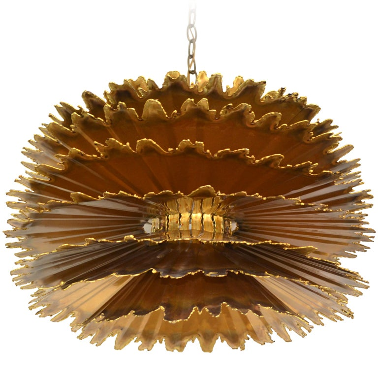 Brutalist Torch Cut Chandelier by Tom A Greene