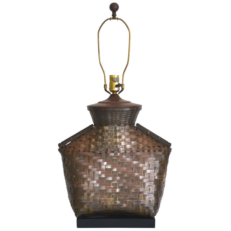 Woven Brass Table Lamp By Chapman At 1stdibs