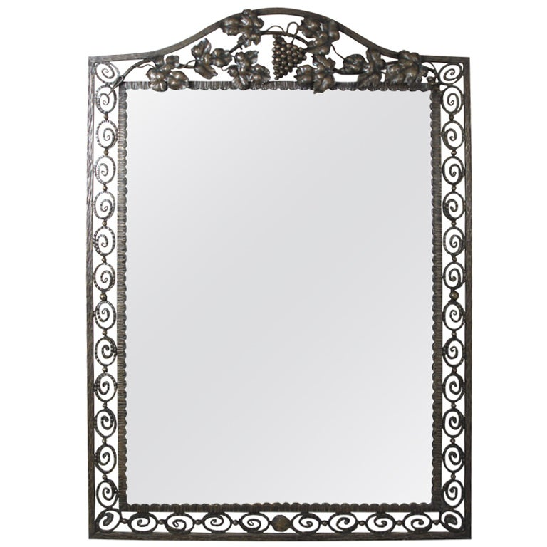 Art d co wrought iron mirror at 1stdibs for Wrought iron mirror