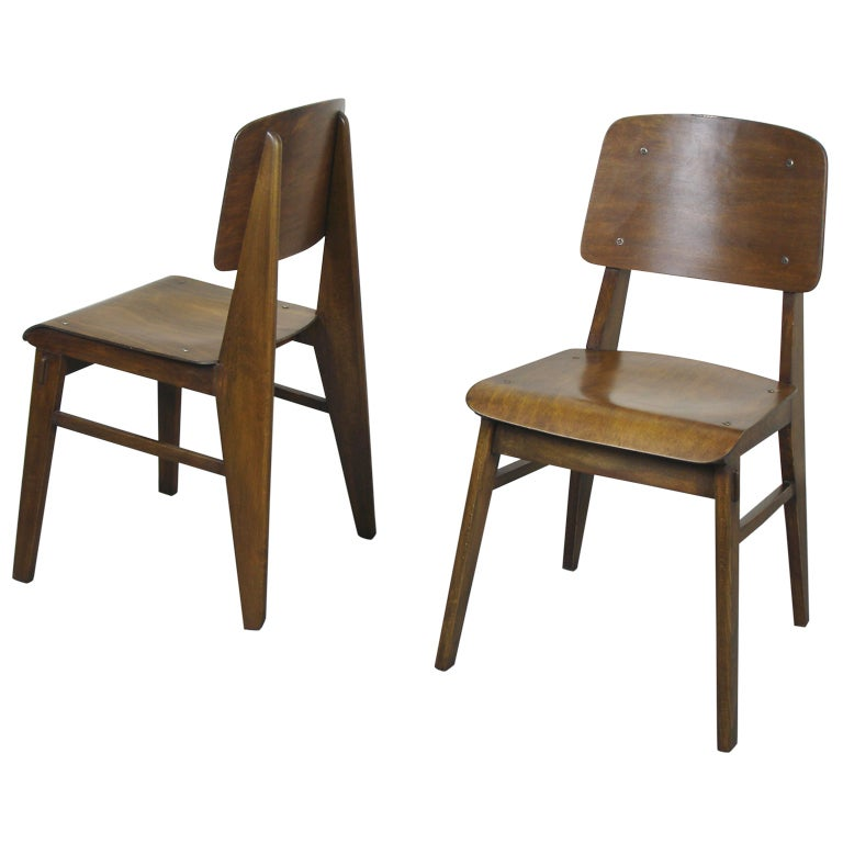 Two Beech Chairs By Jean Prouvé 1