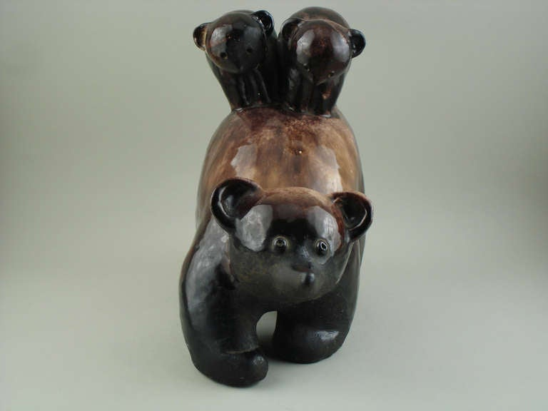 Art Deco Primavera Terra Cotta Bear with Its Two Bear Cubs For Sale