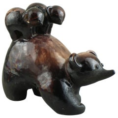 Primavera Terra Cotta Bear with Its Two Bear Cubs