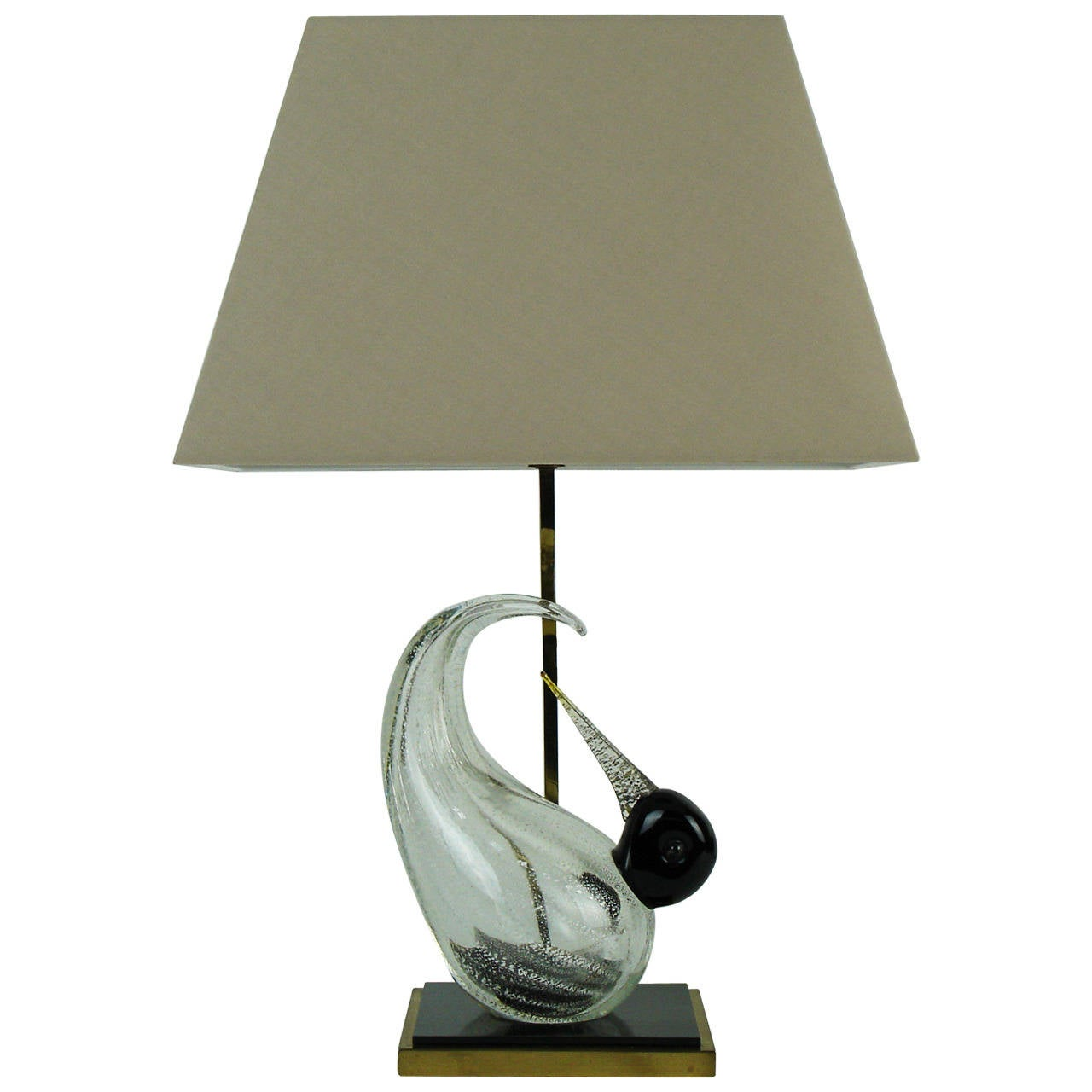 Table Lamp with a Glass Venini Bird