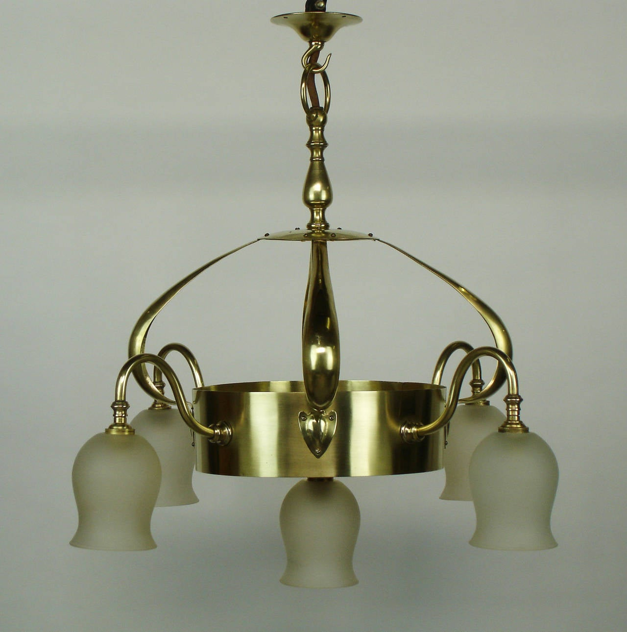 Brass arts and crafts chandelier attributed to jesson for Arts and crafts chandelier