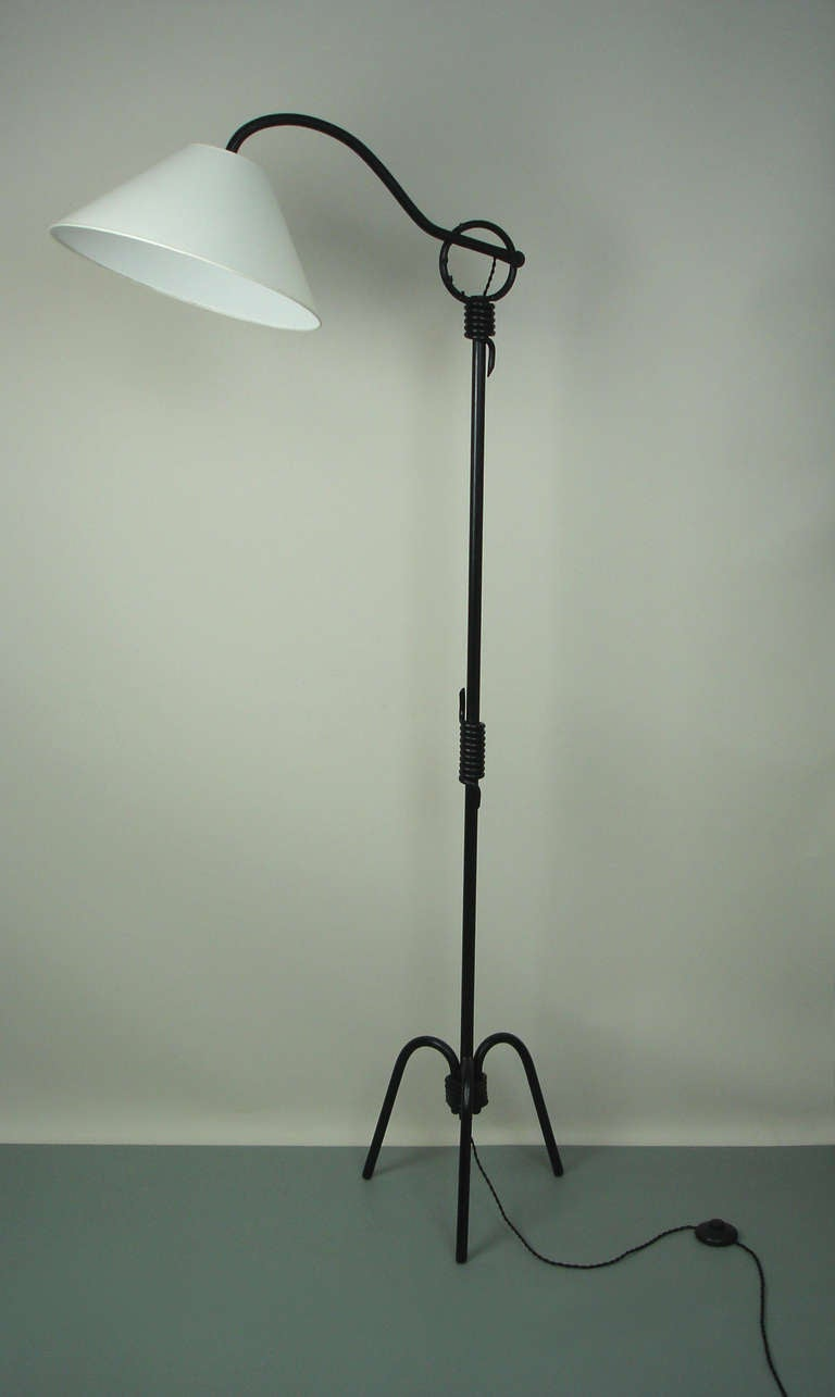 wrought iron floor lamp attibuted to jean royere at 1stdibs. Black Bedroom Furniture Sets. Home Design Ideas