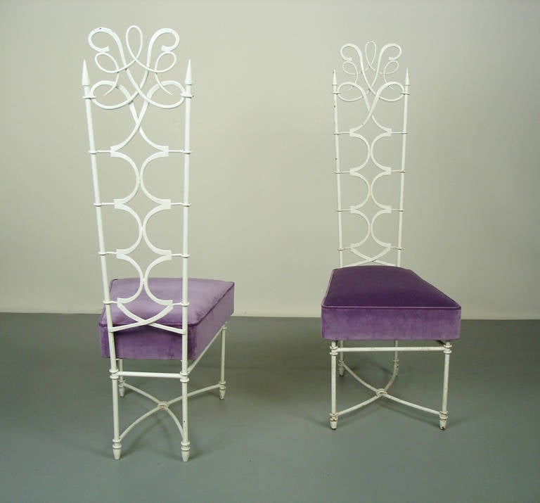 Two wrought iron chairs in the style of ren prou for sale - 6 chaises blanches ...