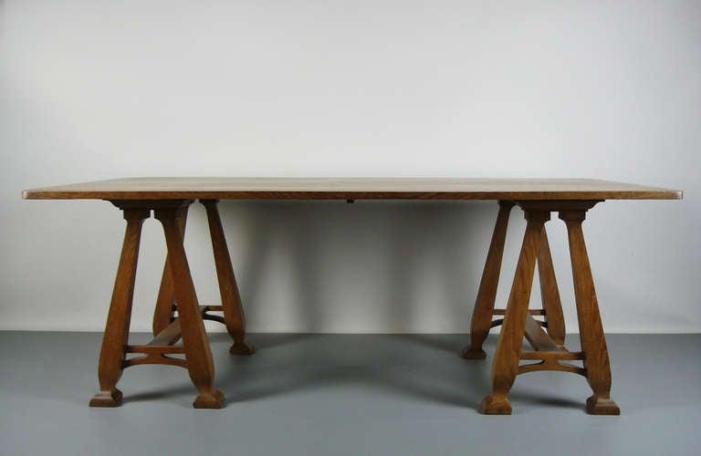 Art Nouveau Art nouveau trestle table For Sale