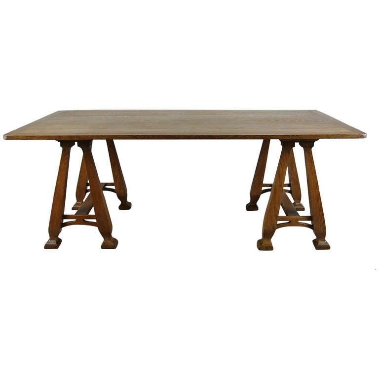 Art nouveau trestle table For Sale