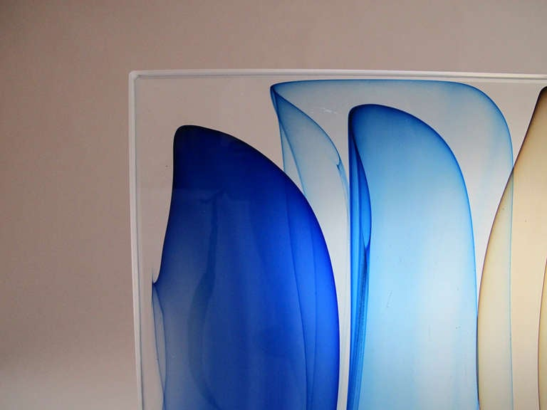 Quot Infusion In Hyacinth Brown And Blue Quot Glass Sculpture By