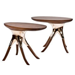 Pair of American Bronze and Walnut Side Tables by Alex Roskin
