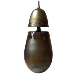 """""""Floating Vase with Gold Glaze"""" Porcelain Vase by Hideaki Miyamura"""