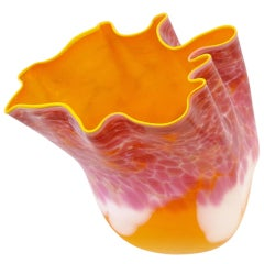 """Orange Macchia with Yellow Lip Wrap"" Glass Art by Dale Chihuly"