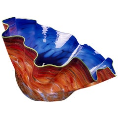 """""""Norse Blue Macchia with Lime Lip Wrap"""" Glass Art by Dale Chihuly"""