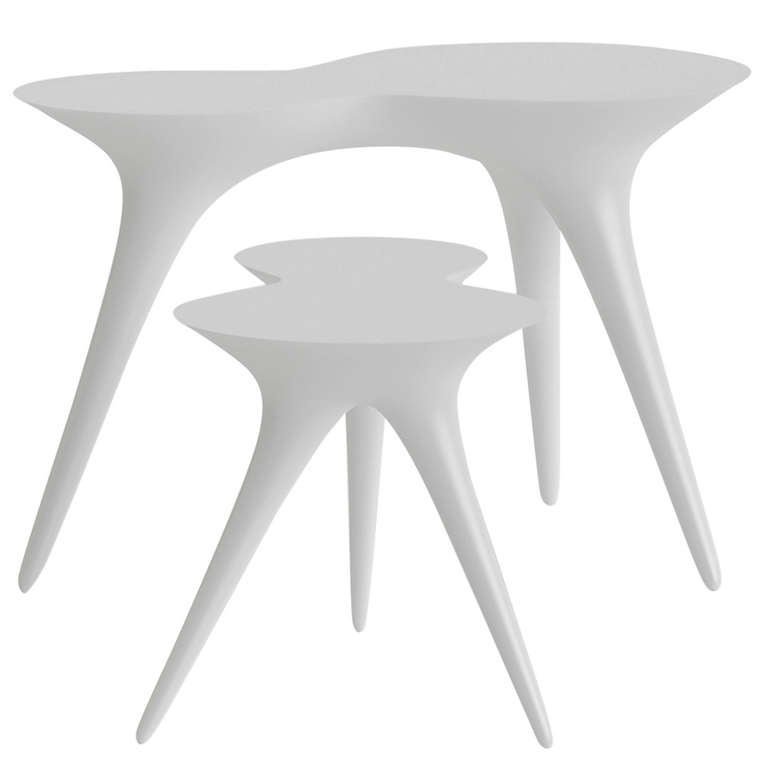 Contemporary Ice Tables in Corian and Glass
