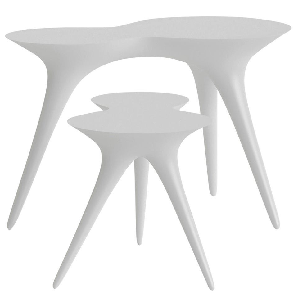 Contemporary Ice Tables in Corian and Glass by Timothy Schreiber