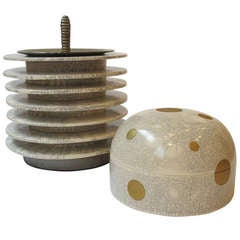 """""""Jar with White Crackle Glaze"""" and """"White Crackle Covered Jar with Gold Polka Dots"""" by Hideaki Miyamura"""