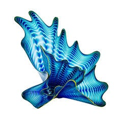Blue Persian Set with Green Lip Wrap by Dale Chihuly