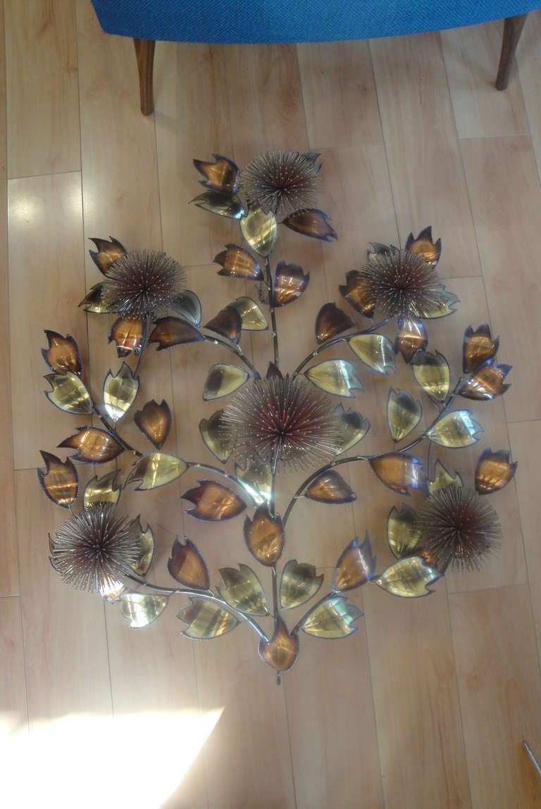 Pom Pom And Leaf Brutalist Metal Wall Sculpture For Sale