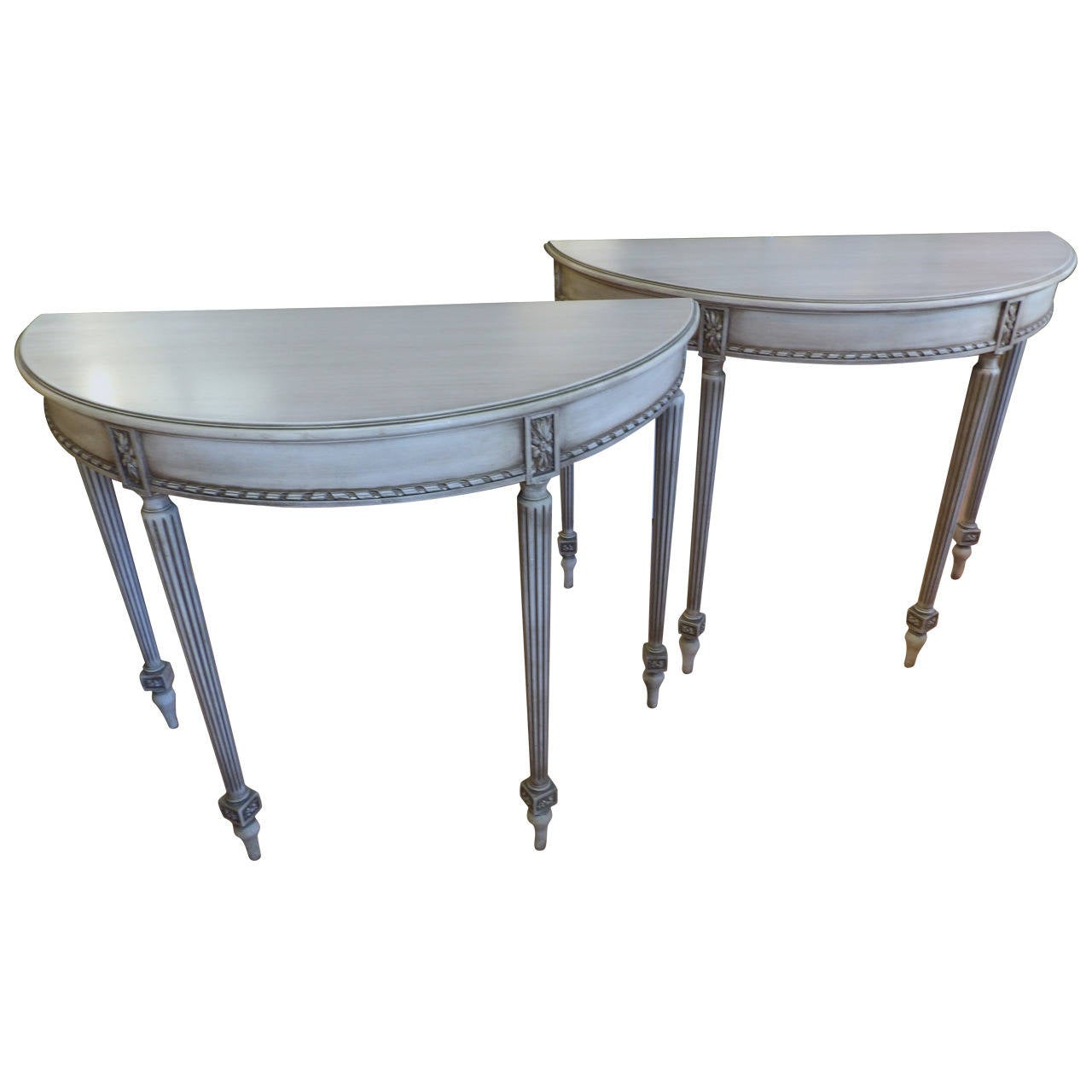 Pair Of Sheraton Style Demilune Tables At 1stdibs