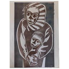 Herman Volz Postmodern Expressionist Woodcut Print
