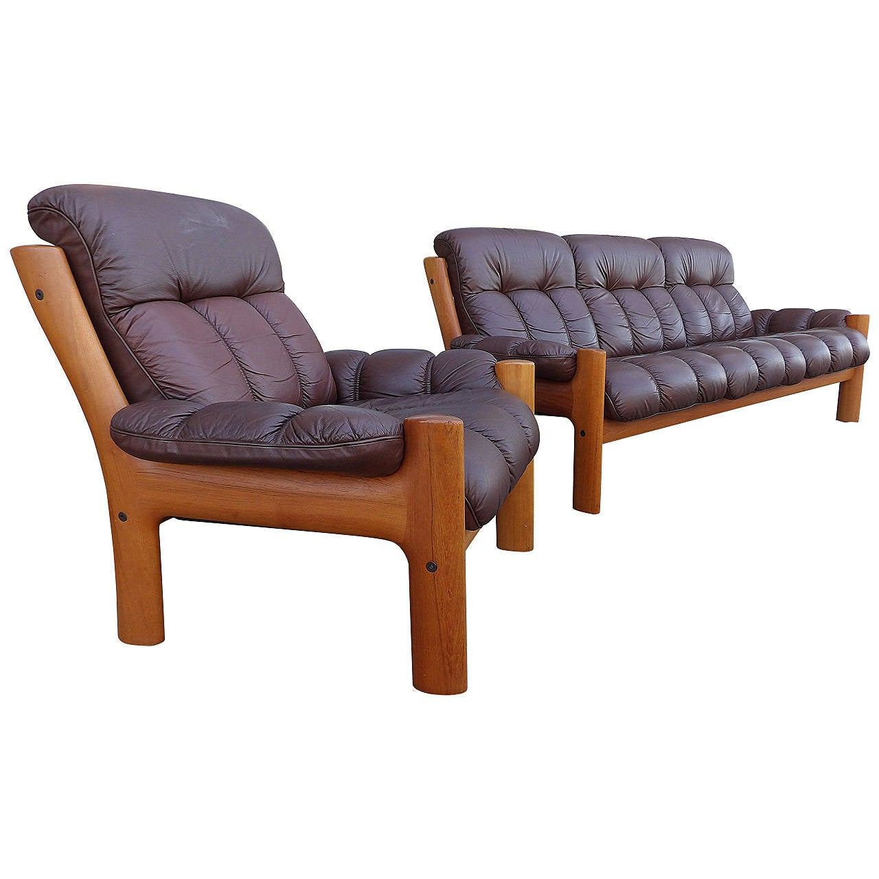 Teak Scandinavian Modern Leather Sofa And Lounge Chair At 1stdibs