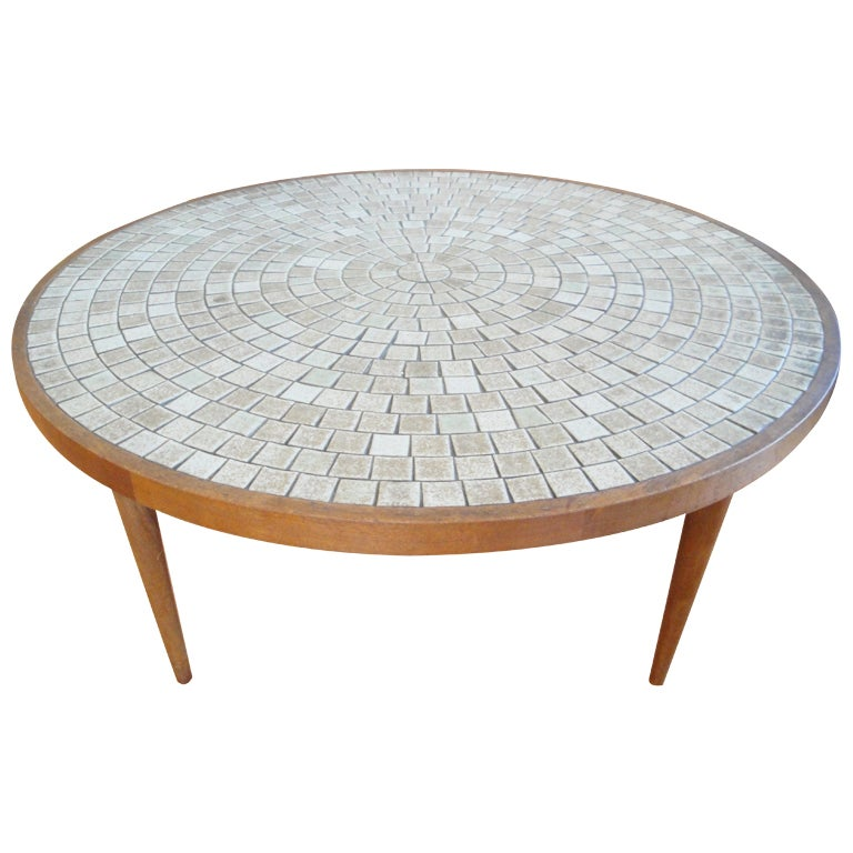 Gordon martz circular mosaic tile coffee table at 1stdibs for Tile coffee table