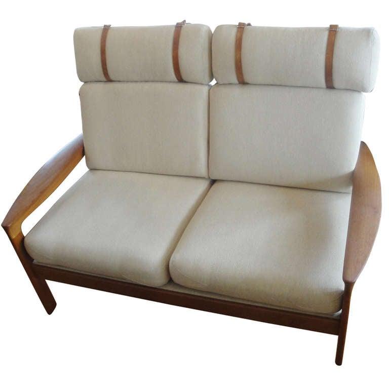 teak high back danish modern sofa by komfort at 1stdibs. Black Bedroom Furniture Sets. Home Design Ideas