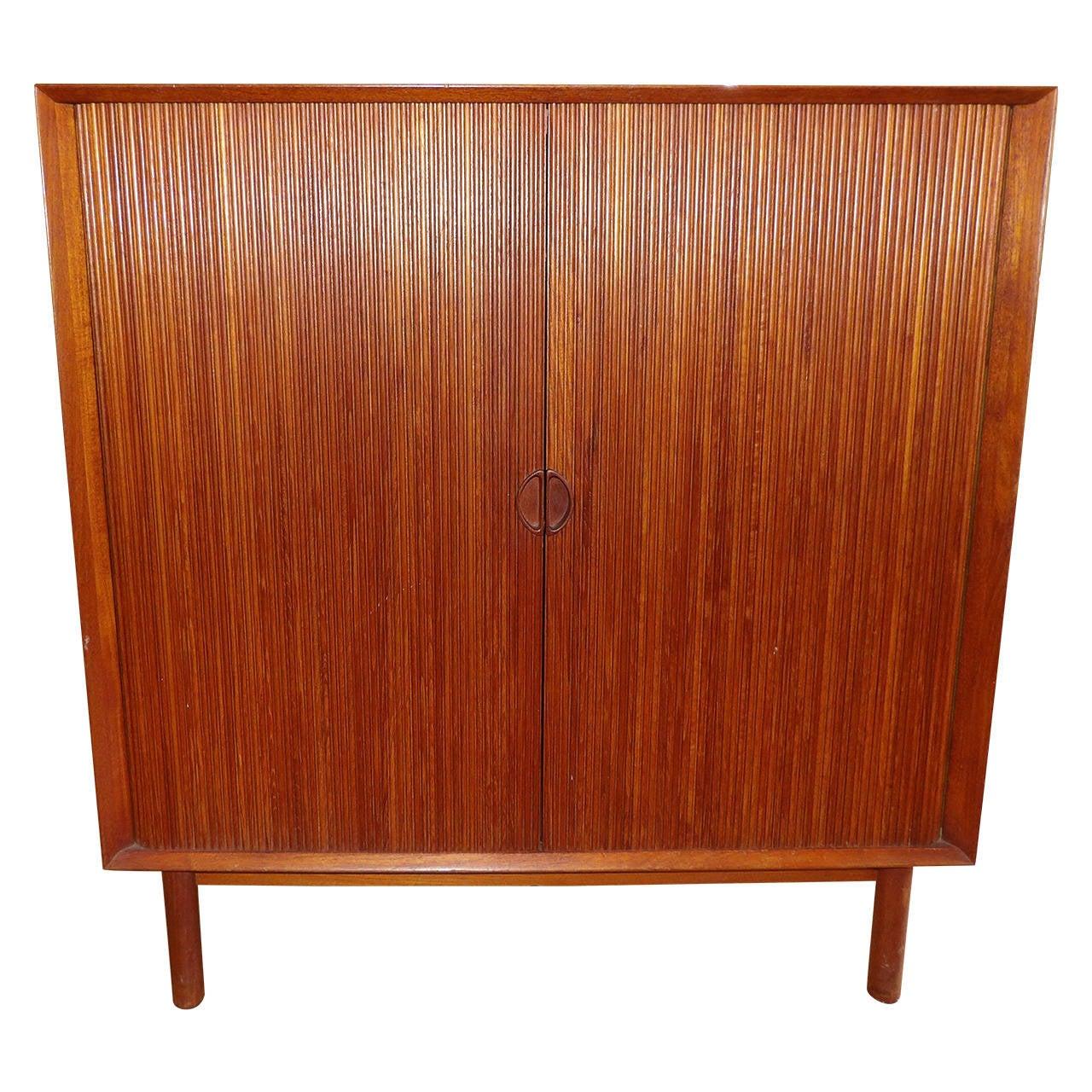 Peter Hvidt Teak Tambour Door Storage Cabinet At 1stdibs